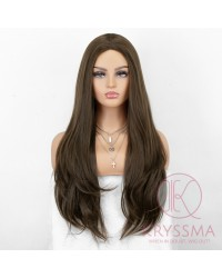 K'ryssma Long Brown Wig with Middle Part Glueless Brown Long Natural Straight Synthetic Wig for Women 22 Inches