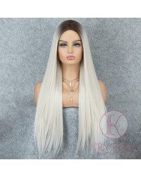 K'ryssma Ombre Platinum Blonde Wig with Dark Roots Middle Parting Wavy Long Synthetic Wig Full Machine Made 22 inches