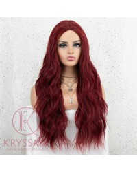 K'ryssma Burgundy Wig for Women Fashion 22 inches Long Wavy Wine Red Synthetic Wig for Halloween