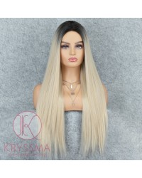 K'ryssma Long Blonde Wig with Middle Parting Synthetic Straight Blonde Ombre Wig for Women 22 Inches