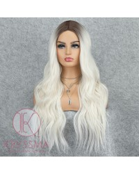 K'ryssma Platinum Blonde Wig with Dark Roots Wavy Long Ombre Wig Synthetic Long Wig for Women 22 Inches