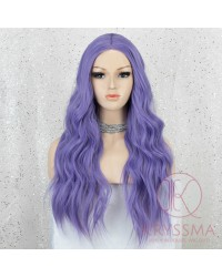 K'ryssma Long Purple Wig with Middle Parting Purple Long Wavy Wig for Halloween Lavender Purple Synthetic Wigs for Women 22 Inches