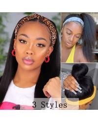 Straight Headband Wig Human Hair Brazilian Remy Human Hair Wigs for Black Women 150% Density Headband Human Hair Wig Natural Color