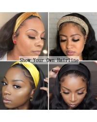 Headband Wig Human Hair Body Wave Headband Wigs for Black Women 150% Density Brazilian Remy Headband Human Hair Wig Glueless Natural Color