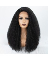 Italian Yaki Lace Front Wig 18/20 inches Natural Black Synthetic Wig