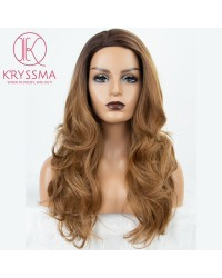 2 Tones Ombre Brown Long Wavy Synthetic None-Lace Wig Wig Dark Roots 22 inces