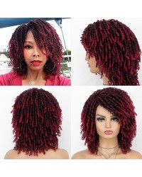 Dreadlock Twist Wigs for Black Women Braided Faux Locs Crochet Hair Wigs with Curly Ends Heat Resistant Afro Short Curly Daily Wigs Burgundy Color