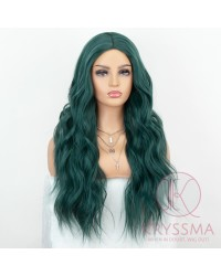 K'ryssma Wavy Green Wig Middle Parted Wavy Long Wig for Halloween Green Wavy Synthetic Cosplay Wigs for Women 22 Inches