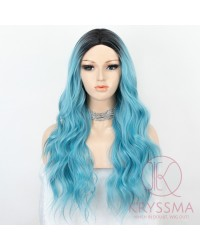 K'ryssma Ombre Blue Wig with Black Roots Blue Wavy Synthetic Wig Heat Resistant Long Blue Ombre Wig for Halloween