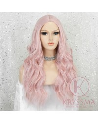 K'ryssma Pink Wig for Women Fashion Long Wavy Pink Synthetic Wig 22 inches