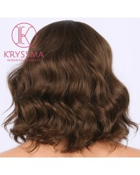 Brown Short Wavy Bob Synthetic Wig 12 Inches