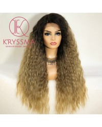 Ombre Blonde Wavy Curly Long Lace Front Wig 22 Inches