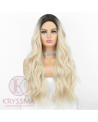 K'ryssma Ash Blonde Wig with Brown Roots Synthetic Long Ombre Wigs for Women Wavy Wig 22 Inches