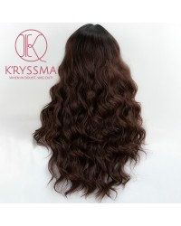 Dark Brown Long Wavy Synthetic Non-Lace Wig 22 inches