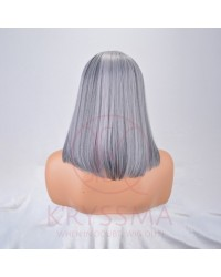 Grey Short Straight Bob None Lace Synthetic Wig with Bangs 14 inches