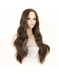 Brown Long Wavy Synthetic Lace Front Wigs 22 inches