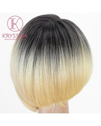 3 Tones Ombre Blonde Short Bob L Part Lace Front Wig 12 inches with Bangs