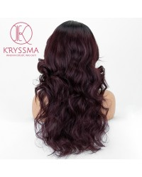 Burgundy Ombre Wavy L Part Lace Wigs Synthetic Wig with Dark Roots