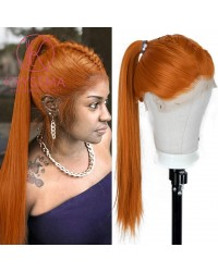 """K'ryssma Cosplay Orange Lace Front Wig 6"""" Deep Free Part Long Silky Straight Synthetic Wigs Natural Hairline 13x6 Orange Wig for Women Heat Resistant 22 Inches"""