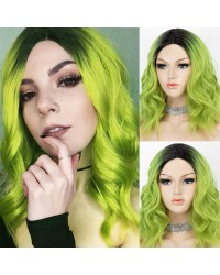 K'ryssma Short Wavy Green Wig Ombre with Dark Roots Short Bob Wig with Middle Parting Ombre Green Synthetic Wig for Women
