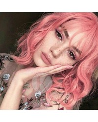 Short Bob Wig with Bangs Glueless Wavy Pink Synthetic Wigs Short Bob Wig for Cosplay (14 Inches)