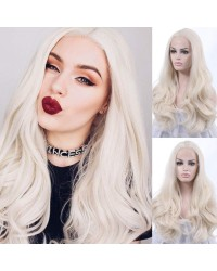 Platinum Blonde Long Natural Straight Lace Front Wigs