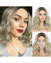 Ombre Blonde Wig Bob Short Wavy Synthetic Wig with Middle Parting Dark Roots to Blonde Ombre Wig Heat Resistant