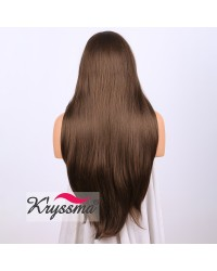 Brown Long Natural Straight Synthetic Lace Front Wig