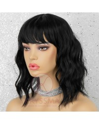 Black Bob Wig with Bangs Natural Looking 14 Inch Short Wavy Synthetic None-Lace Wig