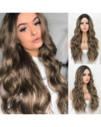 K'ryssma Ombre Brown Wig with Dark Roots Middle Parting Wavy Long Synthetic Wig Full Machine Made 22 inches