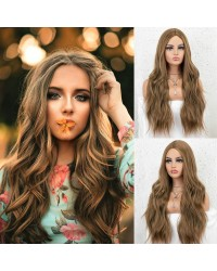 K'ryssma Brown Wig for Women Natural Looking Long Wavy Brown Synthetic Wig 22 inches