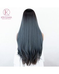 Ombre Blue Lace Front Wig Mixed Color Dark Roots Long Straight Synthetic Wig with Baby Hair L part Deep Parting Blue Ombre Wigs Heat Resistant 28 Inches