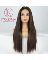 Brown Long Straight Synthetic Lace Front Wig 24 Inches
