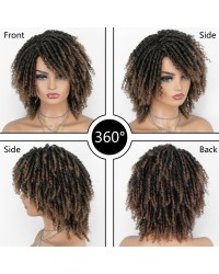Dreadlock Twist Wigs for Black Women Braided Faux Locs Crochet Hair Wigs with Curly Ends Heat Resistant Afro Short Curly Daily Wigs 1b/27 Color