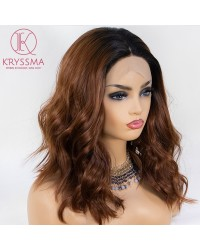 Ombre Copper Brown Wavy Short Bob Lace Front Wig