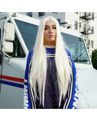 White Platinum Blonde Lace Front Blonde Wigs Silk Straight 14/20/22/24/26 Inches Heat Resistant
