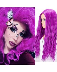 Purple Long Wavy Synthetic None-Lace Wig 22 Inches