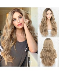 K'ryssma Ombre Blonde Wig Long Wavy Blonde Synthetic Wigs with Dark Roots Glueless Blonde Ombre Wig for Women Middle Parting 22 inches