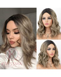 K'ryssma Short Bob Wigs Wavy Ash Brown Ombre Synthetic Wig with Black Roots Middle Parting