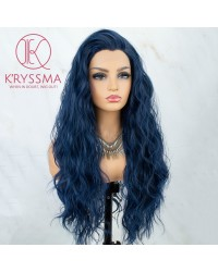 Blue Wavy Long Synthetic Wigs with Widow's Peak 22 Inches