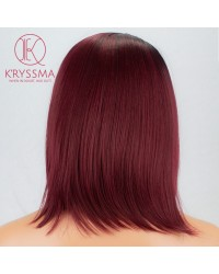 Ombre Burgundy Short Bob Synthetic None-Lace Wig 14 inches