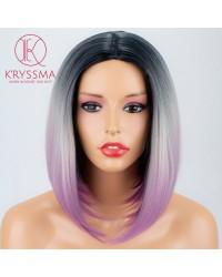 3 Tones Black White to purple Synthetic None-Lace Wig 14 inches
