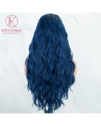 Blue Wavy Long Synthetic Lace Front Wigs 22 inches