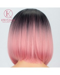 2 Tones Ombre Pink Short Bob Synthetic None-Lace Wig Heat Resistant 14 inches