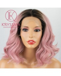 Short Wavy Bob Pink Lace Front Wig Ombre Dark Roots 2 Tone 12 inches