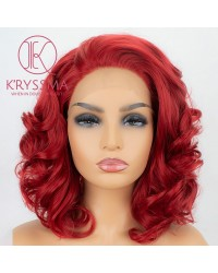 Short Curly Bob Red Synthetic Lace Front Wigs