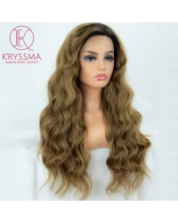 Ombre Brown Wavy Long Lace Front Wigs; 22 Inches