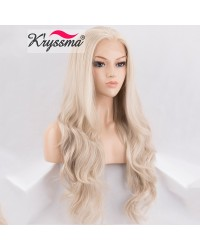Light Platinum Blonde Long Wavy Lace Front Wig 22 Inches