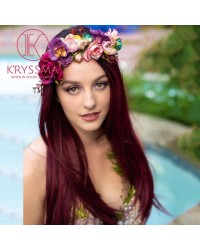 Ombre Burgundy Long Natural Straight Synthetic Wig with Bangs 20 Inches