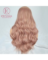 Orange Pink Long Wavy Synthetic None-Lace Wig Heat Resistant 22 inches